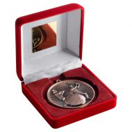 Red Velvet Box And 60mm Medal Cricket Trophy Bronze 4in - New 2019