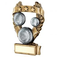 Bronze Pewter Gold Lawn Bowls 3 Star Wreath Award Trophy 7.5in : New 2019