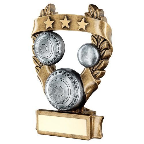 Bronze Pewter Gold Lawn Bowls 3 Star Wreath Award Trophy 7.5in - New 2019