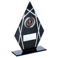 Black Silver Printed Glass Diamond Plaque On Black Base Trophy 7in - New 2019