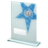 White Blue Printed Glass Rectangle With Large Star Trophy 7.25in - New 2019