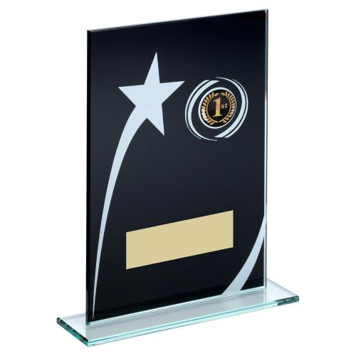 Black White Printed Glass Plaque With Shooting Star Trophy 6.5in - New 2019
