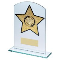 Jade Glass Arched Rectangle With Gold Glitter Star Trophy 8in - New 2019