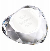 Heart95 Faceted Paperweight 3.75 Inch (9.5cm) Diameter - New 2019