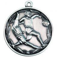 Double Footballer Medal Antique Silver 2in