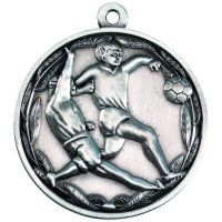 Double Footballer Medal Antique Silver 2in