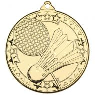 Badminton Tri Star Medal Gold 2in - New 2019