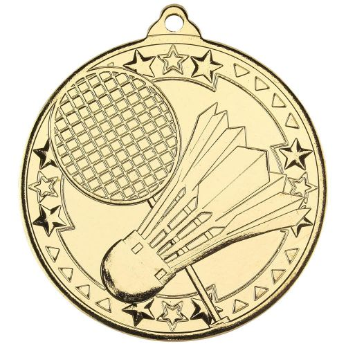 Badminton Tri Star Medal Gold 2in - New 2019
