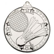 Badminton Tri Star Medal Silver 2in - New 2019