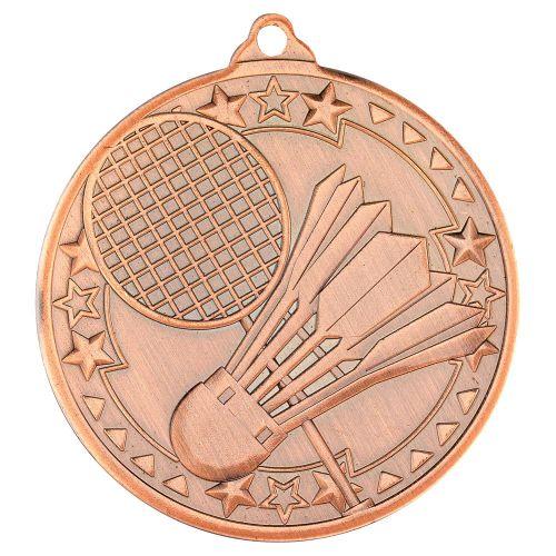 Badminton Tri Star Medal Bronze 2in - New 2019