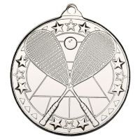 Squash Tri Star Medal Silver 2in - New 2019