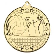 Volleyball Tri Star Medal Gold 2in - New 2019