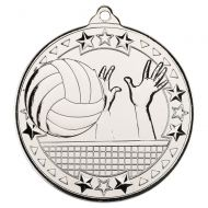 Volleyball Tri Star Medal Silver 2in - New 2019