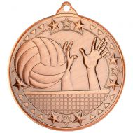 Volleyball Tri Star Medal Bronze 2in - New 2019