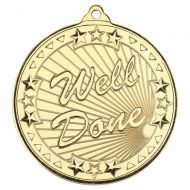 Well Done Tri Star Medal Gold 2in - New 2019