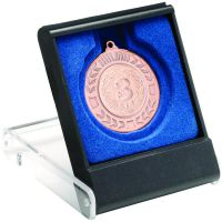 Black Clear Medal Box Large (50 60 70mm Recess Blue ) 4.75in