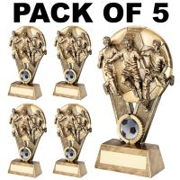 Pack 5 Male Footballer On Ball Trophy Award 6in FREE Engraving
