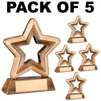 Pack Of 5 - Resin Generic Mini Star Trophy Award 3.75in FREE Engraving