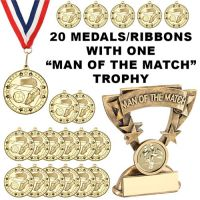 20 X (Twenty) Football Medals - Ribbons | FREE Man of the Match Trophy