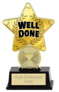 Well Done Trophy Award Superstar Mini Gold 4.25 Inch (10.5cm) : New 2020