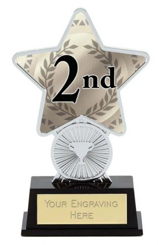 2nd Place Trophy Award Superstar Mini Silver 4.25 Inch (10.5cm) : New 2020