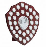Triumph16 Silver Annual Shield Trophy Award Rosewood Silver 16 Inch